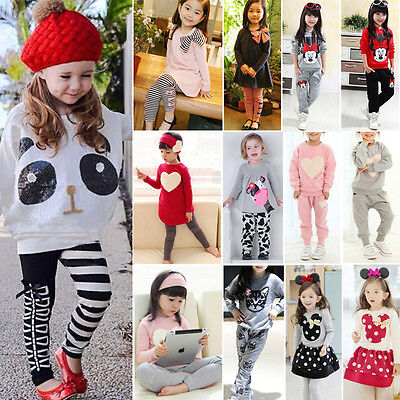 2PCS Toddler Kids Baby Girls Long Sleeve Clothes Tops + Dress Pants Outfits Set