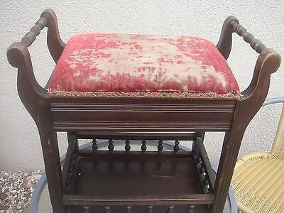 superb antique /vintage early 20c gallery stool  late victorian early edwardian