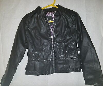 Girls Faux Leather Black Motorcycle Jacket Size 4T B HIP By ME JANE Purple l