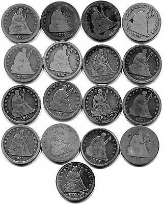 Collection of 17 US Silver Seated Liberty Quarters w/ Rare Key 1855 S & 1877 CC