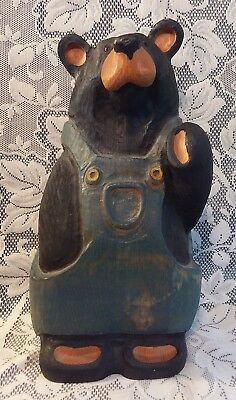 Big Sky Carvers Wood Bearfoots Carved Bear in Overalls Limited Edition 964/4950