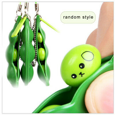 Squeeze-a-Bean Anti-Anxiety Fidget Stress Relief For ADHD keyring Pendant Toy cl