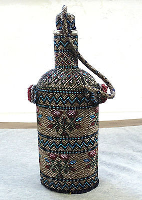 ANTIQUE 19th CENT. VICTORIAN ERA BALKANS FLORAL ORNATE HAND MADE BEADED BOTTLE