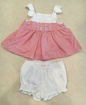 Baby Girl Gymboree Red & White Bow Shirt &  Shorts Nautical Set Size 3-6 Months