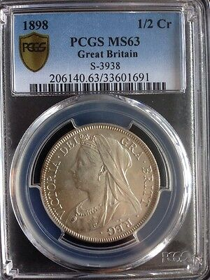 1898 Great Britain 1/2 Crown PCGS MS63 S-3938