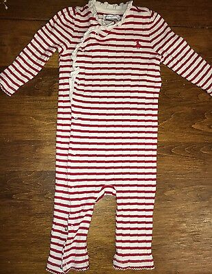 Ralph Lauren Baby Girl Red & White Cotton Striped One Piece Outfit Size 9 Months