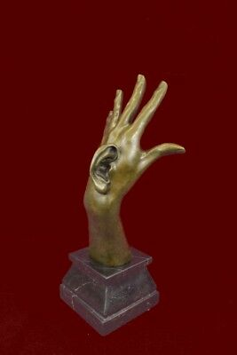 Signed Abstract Walls Have Ears Hand Marble Base Figurine Abstract Art Bronze Sc