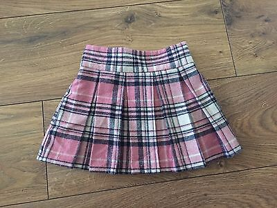 Pink And Navy Pleaded Check Skirt, 12- 18 Months