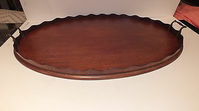 Antique Edwardian Mahogany Gallery Tray with Brass Handles