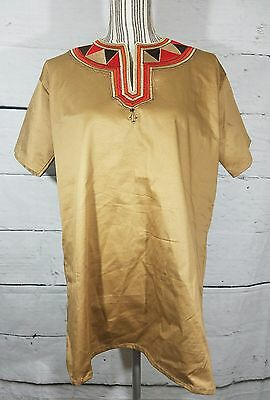 Dashiki Ethnic Top Unisex Stitched Trim Short Sleeve Tan Orange