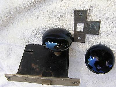 Vintage Door Knob Mortise Lock Handle Set + strikeplate Black Porcelain Knobs,