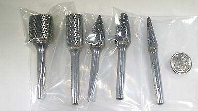 "Lot ( 5 Pcs ) Usa Carbide Burrs 1/4"" Shank Rotary Metal Deburring Burs Tool Bits"