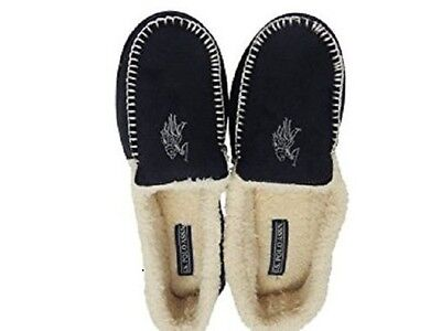 U.S. Polo Assn. Premium Mens Slippers Indoor Outdoor Moccasin Black - Small