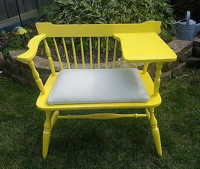 VINTAGE Upcycled Gossip Bench Telephone Conversation Table Chair Desk Yellow