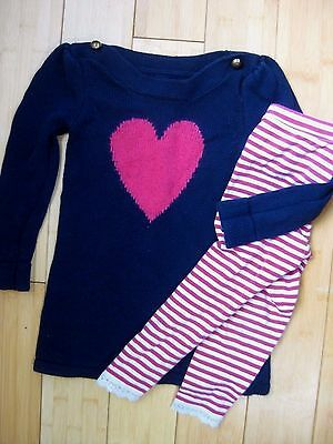 Baby Gap Heart Sweater Dress Leggings Outfit Lot Size 3T Toddler Girls Fall Euc