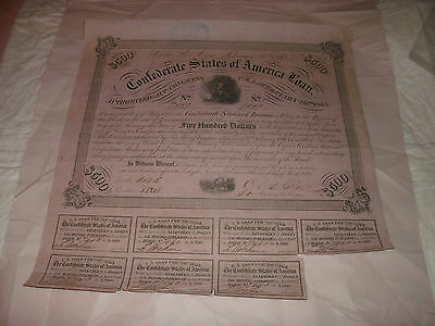 1863 Confederate States $500.00 Bond With 7 Coupons Soldier By Campfire