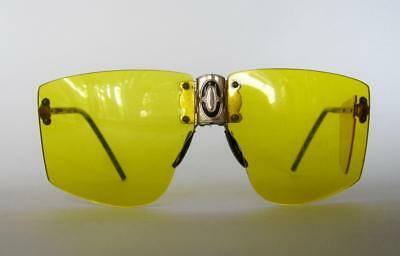 Mid-Century Cebe France Yellow Rimless Lenses Sunglasses Side Shield As Is