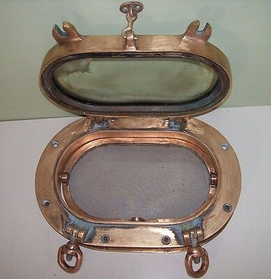 Vintage Bronze Ships Porthole Large- Authentic W Orig Glass & Screen &trim Ring