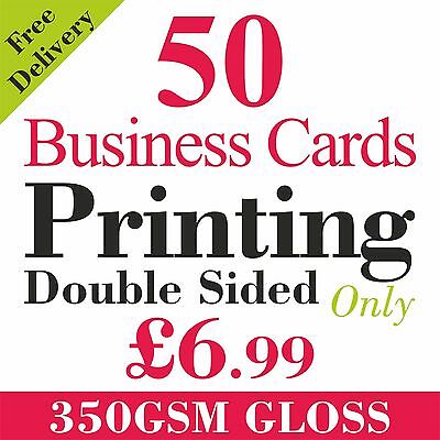 50 Full Colour Business Cards Printed on 350gsm Card Double Sided