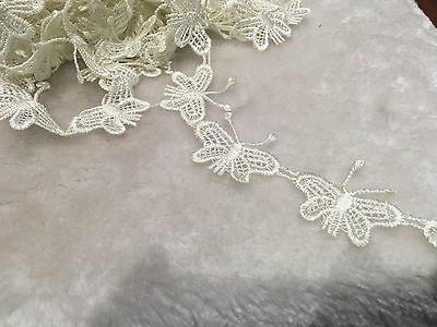 20pcs Vintage White Butterfly Lace Trim Applique Fabric Sewing Craft DIY
