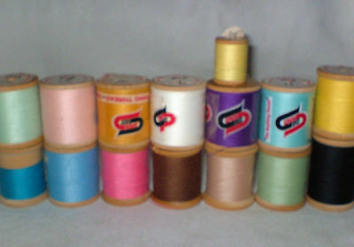 15 Vintage Wood Spools THREAD Spun Dee The American Thread 100% Polyester USA