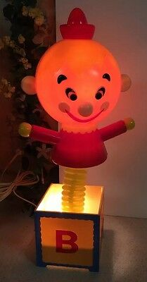 VINTAGE DOLLY TOY JACK IN BOX CHILDREN 3-WAY NURSERY LIGHT LAMP Hard Plastic 19""