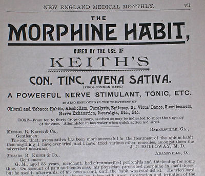 1892 Medical Ad ALCOHOLISM MORPHINE & OPIUM ADDICTION HERBAL CURE Nerve Tonic
