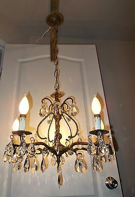 LOVELY SPANISH BRASS & CRYSTAL CHANDELIER c1950/60s VINTAGE ANTIQUE FRENCH STYLE
