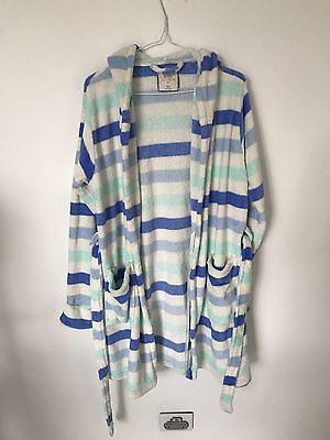 COTTON ON Women's Blue And White Dressing Gown - Size M/L