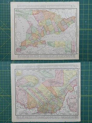 Ontario Quebec Vintage Original 1895 Rand McNally World Atlas Map Lot
