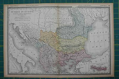 Turkey in Europe Vintage Original 1894 Rand McNally World Atlas Map Lot