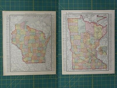 Wisconsin Minnesota Vintage Original 1896 Rand McNally World Atlas Map Lot