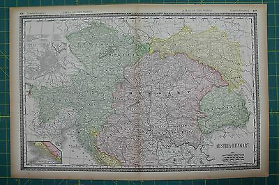 Austria-Hungary Vintage Original 1894 Rand McNally World Atlas Map Lot
