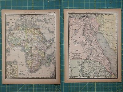 Africa Egypt Vintage Original 1894 Rand McNally World Atlas Map Lot