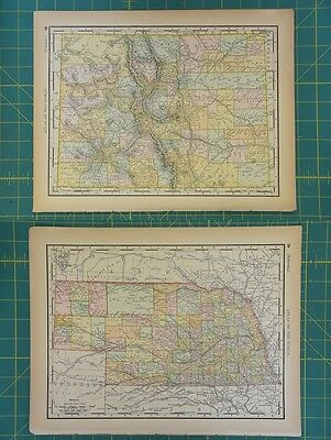 Colorado Nebraska Vintage Original 1894 Rand McNally World Atlas Map Lot