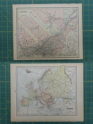 Quebec Europe Vintage Original Antique 1892 World Atlas Map Lot