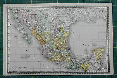 Mexico Vintage Original 1889 Rand McNally World Atlas Map Lot