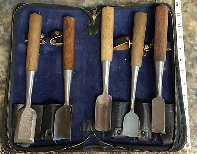 Vintage Set of 5 Misono Ice Carving Tools Chisels With Case