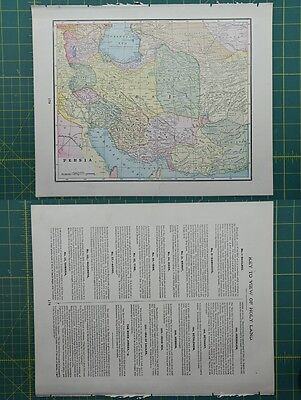 Persia Vintage Original 1895 Crams World Atlas Map Lot