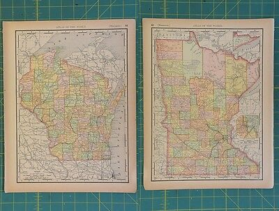 Wisconsin Minnesota Vintage Original 1894 Rand McNally World Atlas Map Lot
