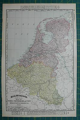 Netherlands Vintage Original 1895 Rand McNally World Atlas Map Lot