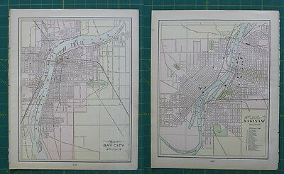 Bay City, MI Saginaw, MI Vintage Original 1897 Cram's World Atlas Map Lot