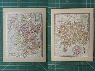 Scotland France Vintage Original Antique 1892 World Atlas Map Lot