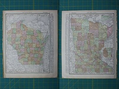 Wisconsin Minnesota Vintage Original 1910 Rand McNally World Atlas Map Lot