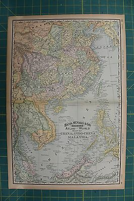 China Vintage Original 1894 Rand McNally World Atlas Map Lot