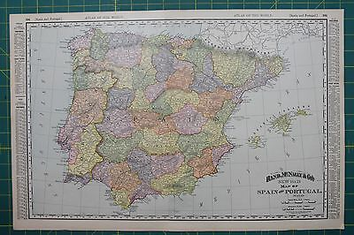 Spain Portugal Vintage Original 1895 Rand McNally World Atlas Map Lot