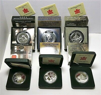 6 Canada Silver Proof & Brilliant Uncirculated Dollars Lot 2001, 2002, 2003