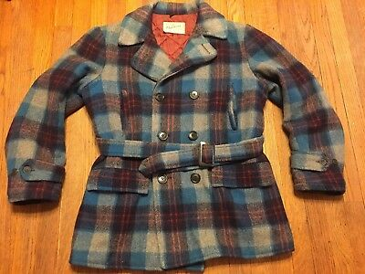 Vintage 1950's Sears HERCULES Shadow Plaid Western Wool Coat Chore Rockabilly