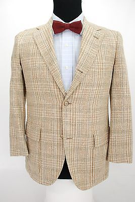 Brooks Brothers 3 Roll 2 Summer Sport Coat Jacket Wool Silk Linen Plaid 37 S