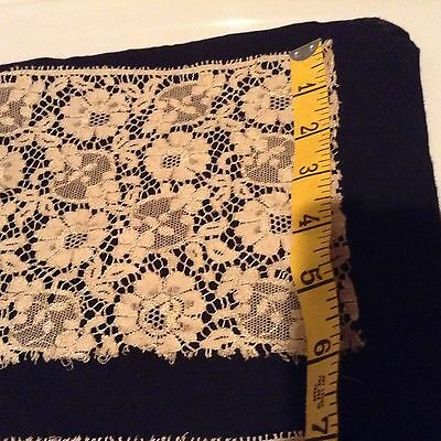 "Antique Hand Made Lace 6 inch wide 36"" long"